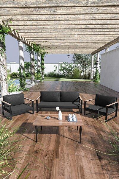 Siyah Kobalt Bahçe Balkon Oturma Takımı Sehpalı 2+1+1