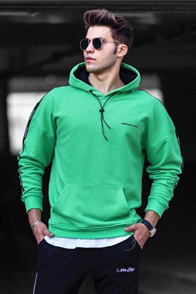 Erkek Yeşil Basic Kapüşonlu Sweatshirt 4721