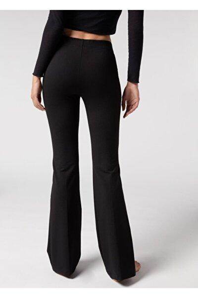 Kadın Siyah Dalgıç Kumaş Bir Beden Inceltici Görünüm Sağlayan Ispanyol Paça Pantolon