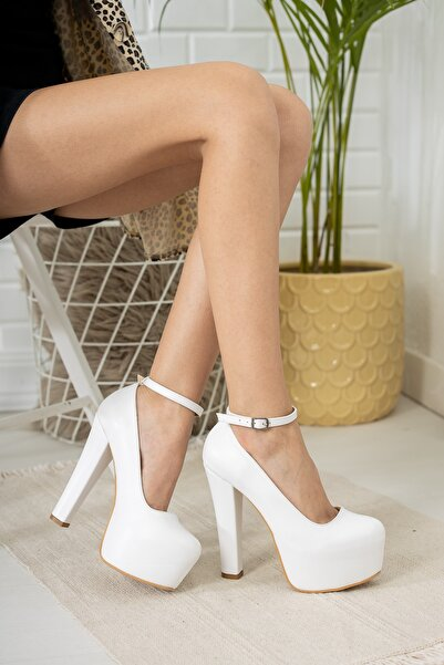 Kadın Yeni Tarz Kare Topuklu Beyaz Renk Gelinlik Altı Platform Ayakkabı