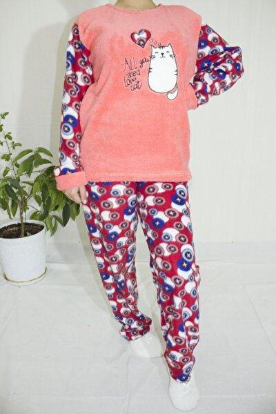 Kadın Nar Çiçeği Kalpli Kedili Baskılı Uzun Kollu Peluş Polar Pijama Takımı