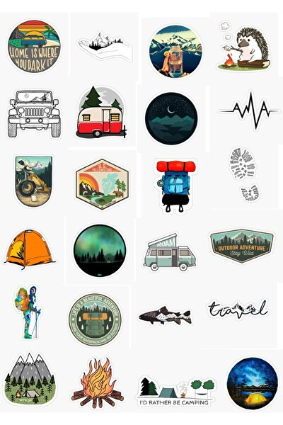 Kamp - Doğa Tasarımlı 25'li Sticker Seti