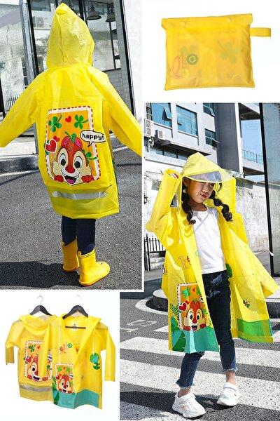 Hayvan Figürlü Kapüşonlu Çocuk Yağmurluk Çantalı Sarı