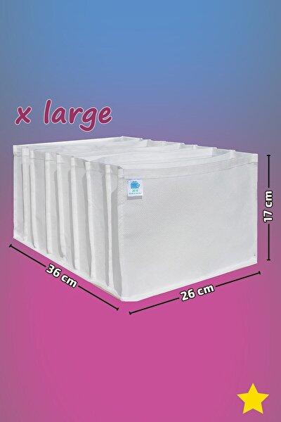 Beyaz - X Large Boy / 8 Gözlü Çekmece Düzenleyici - Cepli Organizer - Akordiyon Düzenleyici