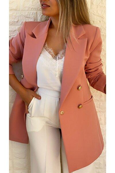 Uzun Gold Düğmeli Blazer Ceket Gül Kurusu