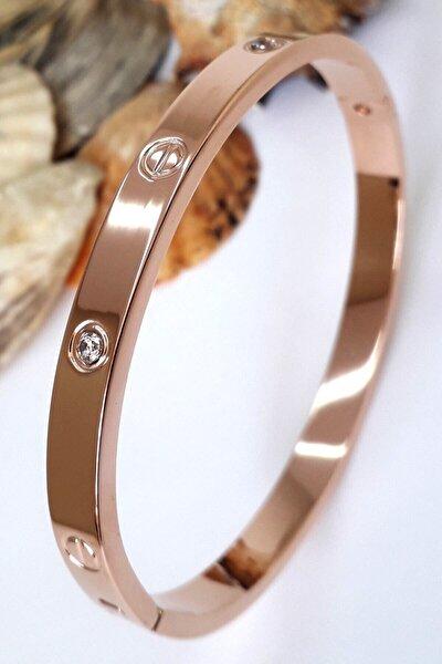 Kadın Zirkon Taşlı Paslanmaz Çelik Cartier Bileklik Bilezik 18 Cm