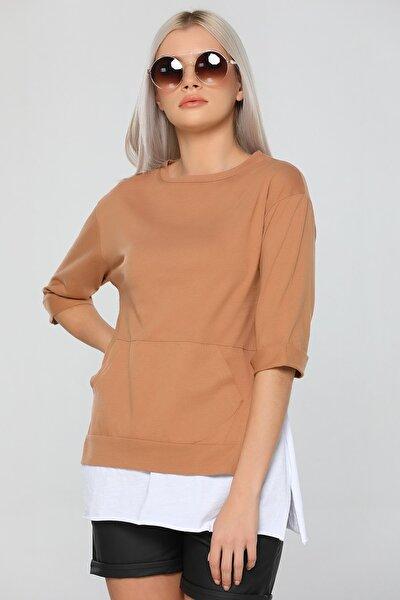 Kadın Kahverengi Bisiklet Yaka Duble Kol Cepli Garnili T-shirt
