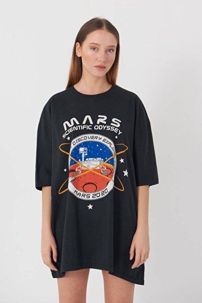 Kadın Füme Baskılı Oversize T-Shirt P9411 - U2 Adx-0000022043