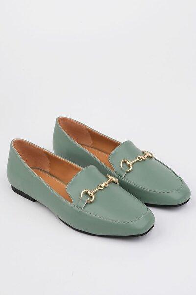 Kadın Yeşil Loafer Ayakkabı Bekla