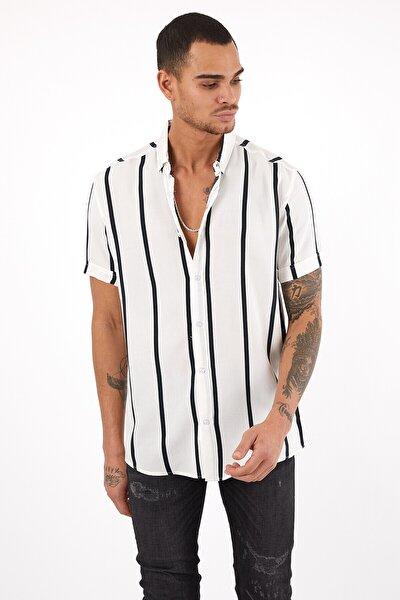 Erkek Çizgili Beyaz Yazlık Kısa Kollu Fit Basic Gömlek