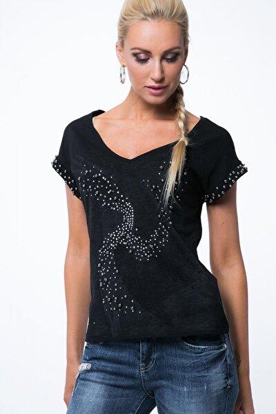 Kadın  Siyah Sırt Detaylı Incili Bluz Zz1062