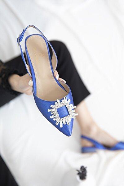 Loden Kadın Topuklu Taş Detay Saten Sandalet Saks Mavi