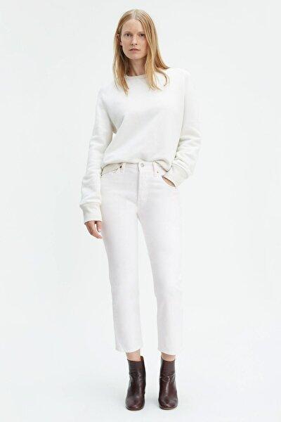 Kadın Yüksek Bel 501 Cropped Coupe Beyaz Jean