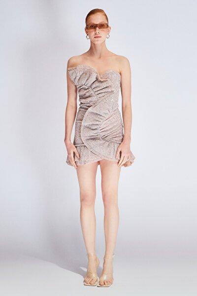 Bej Payetli Drape Detaylı Elbise TDPSS20EL0147