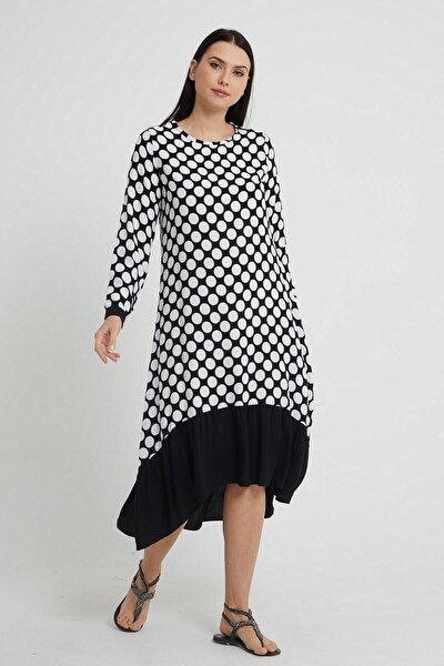 Kadın Siyah Sıfır Yaka Uzun Kol Etek Ucu Dev Fırfır Detaylı Puantiye Dokuma Elbise