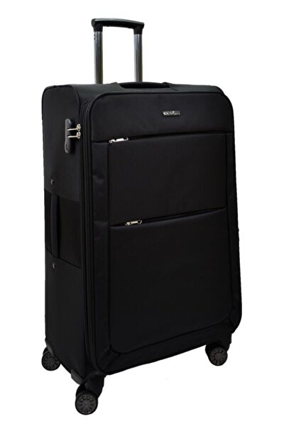 Siyah Büyük Boy Kumaş 4 Tekerlekli Valiz