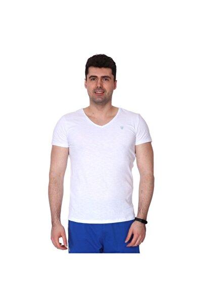 Erkek Beyaz Günlük Stil Tişört 710387-00w-sp