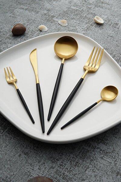 Bellia Gold Paslanmaz Çelik 30 Parça Çatal Kaşık Bıçak Takımı - Siyah