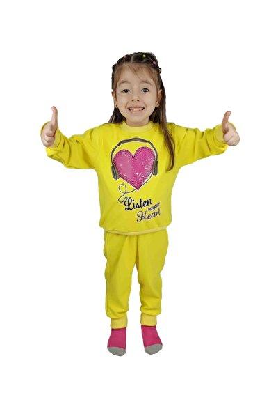 Kız Çocuk Sarı Baskılı Pamuklu Eşofman Takımı