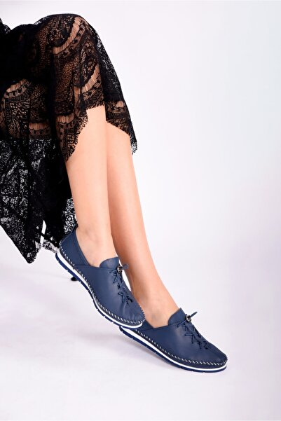 Kadın   Hakiki Deri Ayakkabı  Lacivert