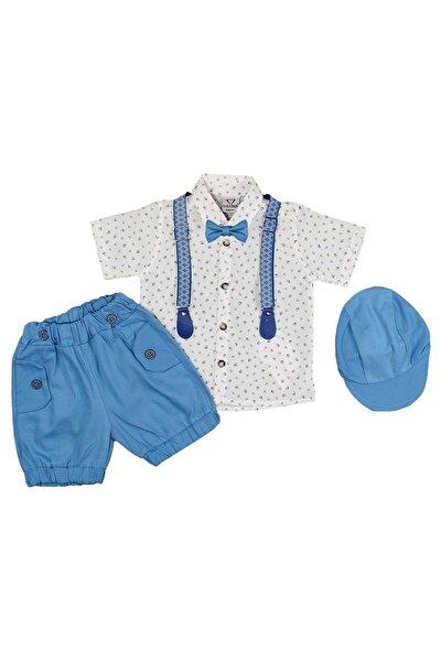 Erkek Bebek Gömlek Şort Şapkalı Askılı 3lü Takım
