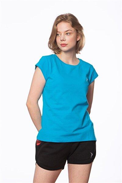 Kadın Turkuaz Pike Kısa Kollu Basic Tişört