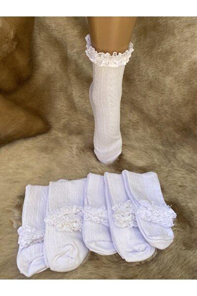 5'li Dantel ve Kabartma Desenli Çocuk Soket Çorabı