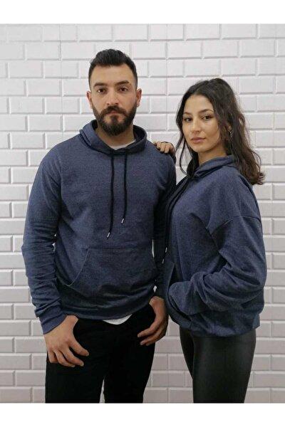 Unisex Lacivert Oversize Kapüşonlu Sweatshirt