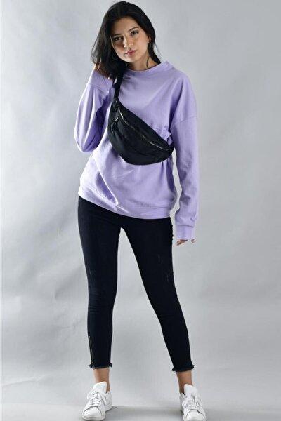 Kadın Lila İki İplik Düz Sweatshirt
