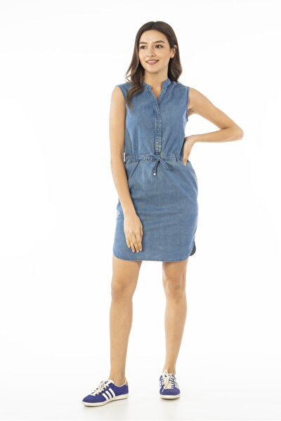 Kadın Mavi Kolsuz Midi Kot Elbise Jeans Cb695
