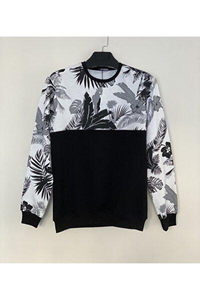 Erkek Siyah Yaprak Desenli Parçalı Sweatshirt