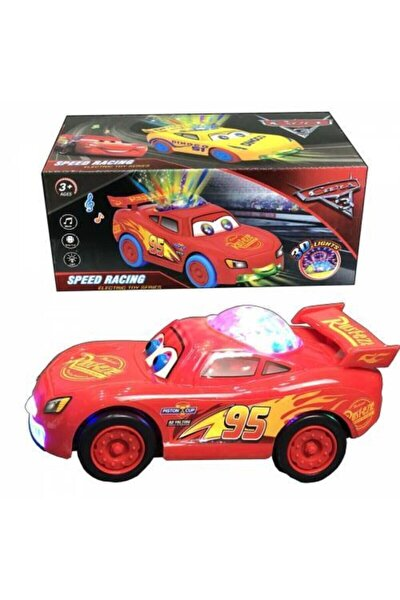 Şimşek Mcqueen Cars Üstü Disko Işıklı Dil Çıkaran Müzikli Oyuncak Araba