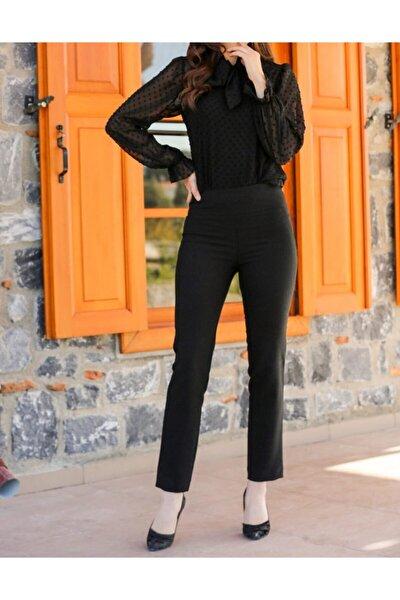 Kadın Siyah Renk Yüksek Bel Fermuarlı Pantolon