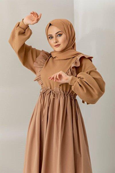 Triko Detaylı Fırfırlı Vizon Elbise