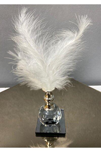 Beyaz Tüylü Gümüş Kristal Top Tüylük Dekor