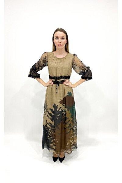 Kadın  Kahverengi Ağaç Baskılı Beli Dantelli Uzun Şifon Elbise