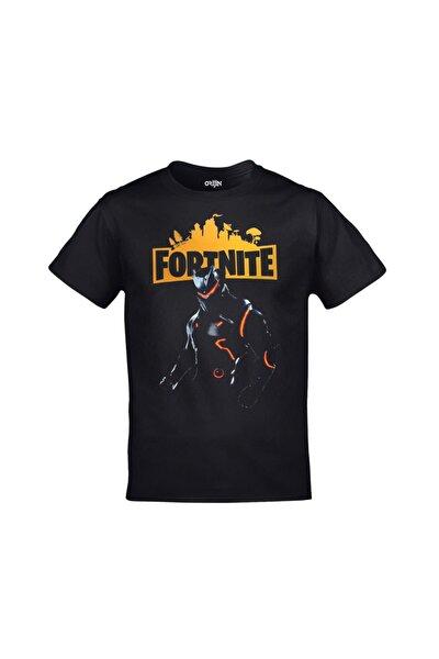 Unisex Siyah Fortnite Omega Baskılı Tshirt