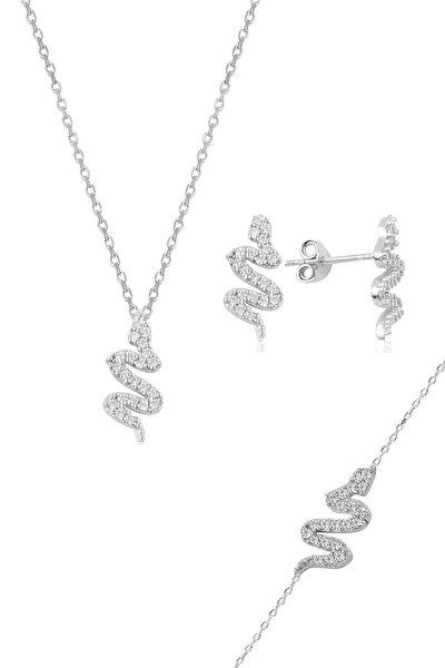 Gümüş rodyumlu zirkon taşlı gümüş yılan üçlü set