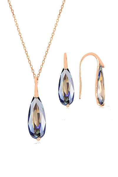 Gümüş rose mavi mistik  taşlı damla kolye ve küpe ikili gümüş set