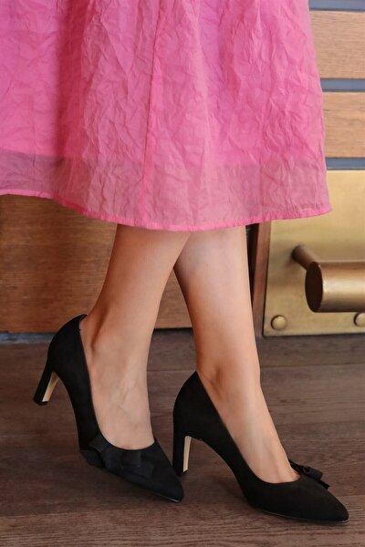 Layla Siyah Süet Topuklu Ayakkabı