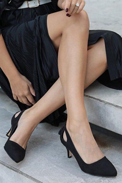 Drop Siyah Süet Topuklu Ayakkabı