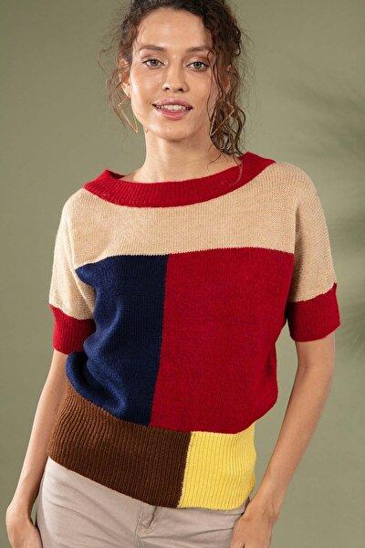 Kadın Renk Bloklu Kısa Kol Triko Kazak 80015