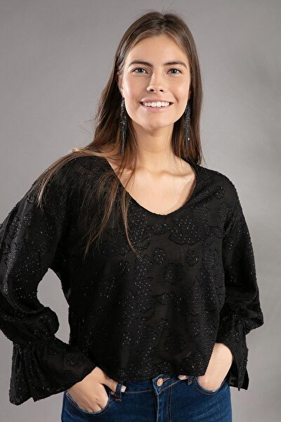 Kadın U Yaka Simli Transparan Kısa Bluz 30845
