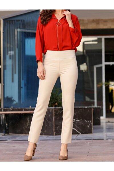 Kadın Taş Yüksek Bel Fermuarlı Pantolon