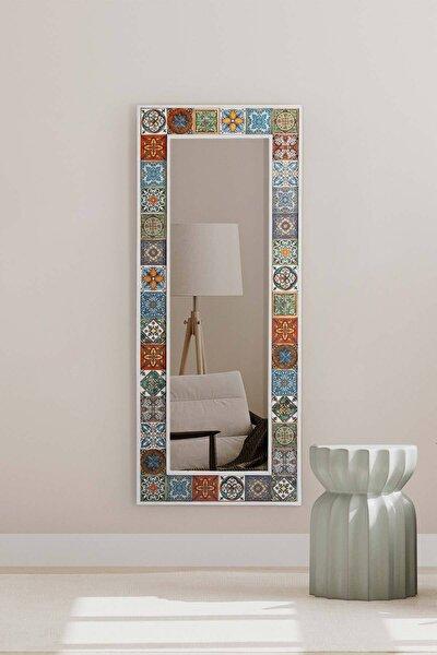 Doğal Ağaç 62x149 Cm Beyaz Çerçeve El Yapımı Çini Seramik Kaplı Salon Ofis Mutfak Duvar Boy Aynası