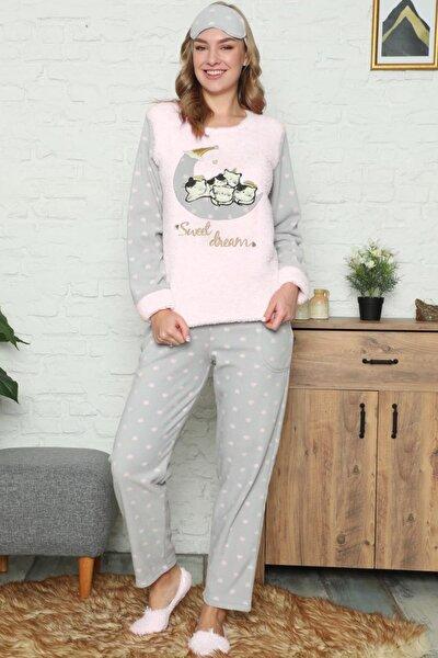 Kadın Cat Desenli  Peluş Pijama Takımı