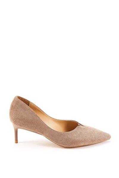 Kadın Vizon Süet Topuklu Ayakkabı