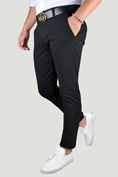 Erkek Siyah Keten Pantolon