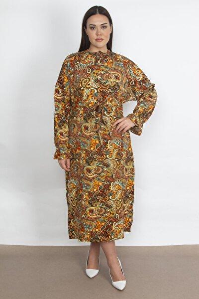 Kadın Renkli Desenli Uzun Elbise 65N21016