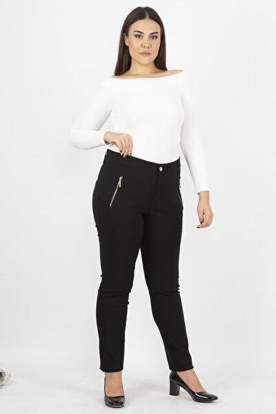 Kadın Siyah Fermuar Detaylı Pantolon 65N20932